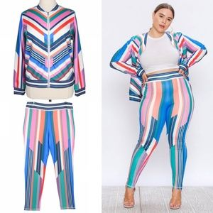 Rays Colorful 3X Track Suit Jacket & Leggings Set